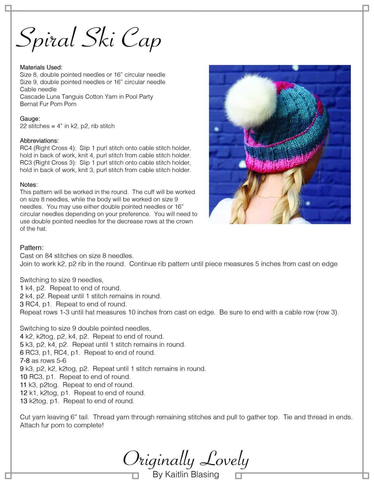 Spiral Ski Cap | Originally Lovely