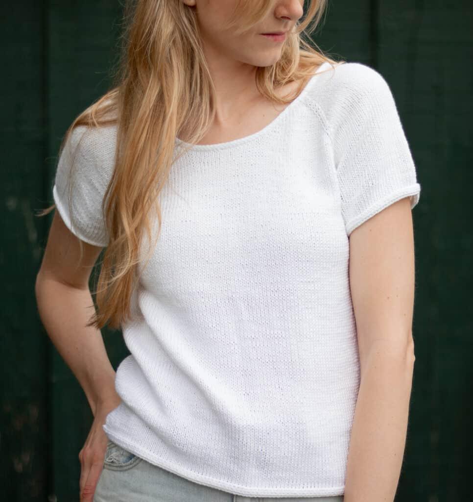 Perfekt gestricktes T-Shirt Strickmuster Detailbild